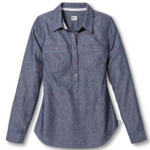 Toms Micro Dot Chambray Popover Button Down Shirt